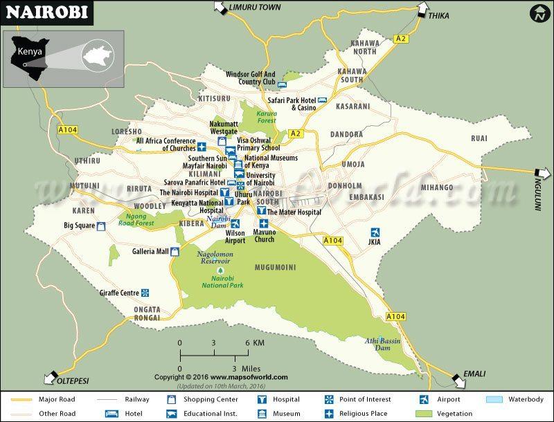 Nairobi city kenya map national park weather interesting facts nairobi map gumiabroncs Choice Image