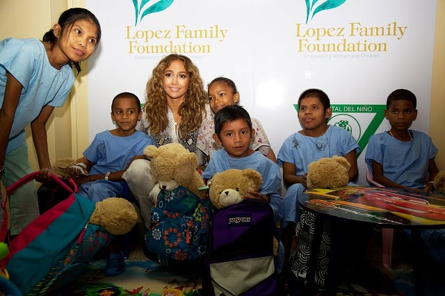 Jennifer Lopez with kids at her Foundation
