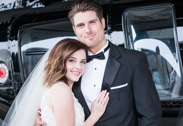 Marcus Rosner and actress Jen Lilley in Hallmark's Yes I Do