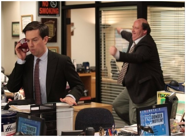 Ed Helms as Andy Bernard, Brian Baumgartner as Kevin Malone in The Office