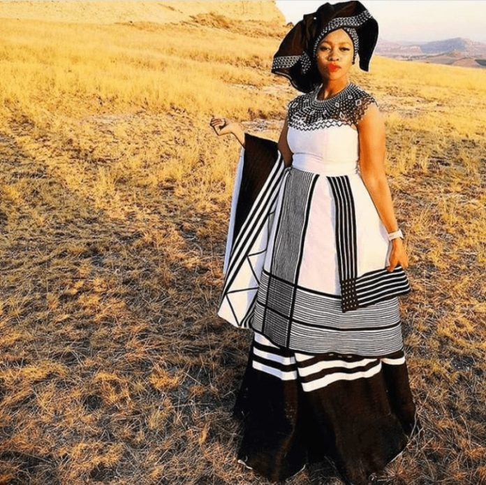 Xhosa Strapless Umbhaco Dress with Doek and Beaded Cape